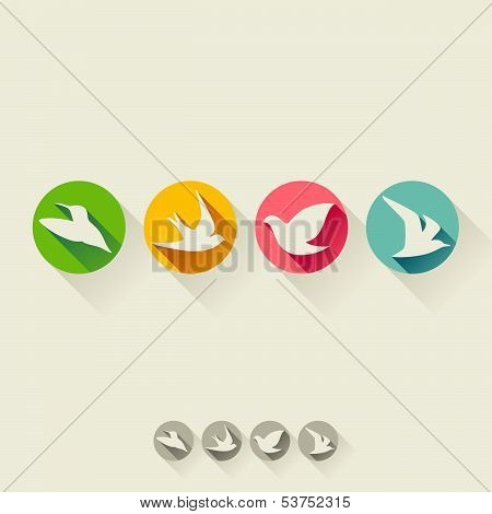 Birds. Flat Icon With Long Shadow. Set Of Vector Illustration