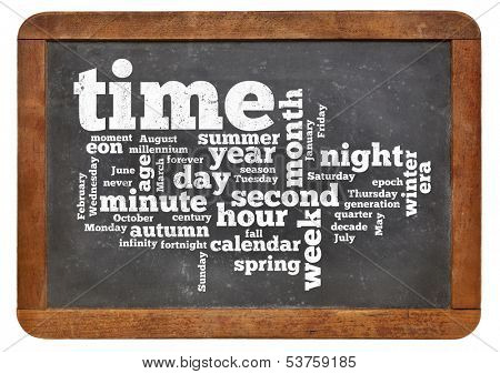 cloud of words or tags related to time and calendar on a  vintage slate blackboard isolated on white