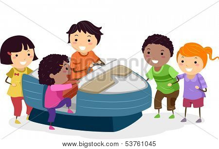 Illustration of Kids Riding an Arcade Machine Resembling a Motorboat
