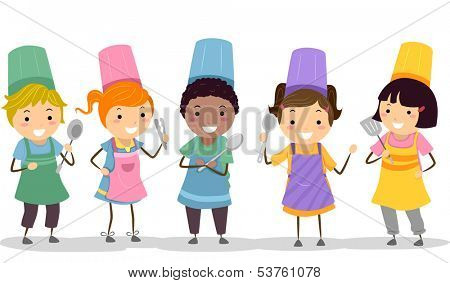 Illustration of Kids Wearing Toques and Aprons Holding Cooking Utensils