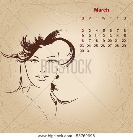 Artistic Vintage Calendar For March 2014.