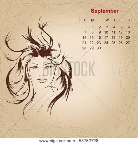Artistic Vintage Calendar For September 2014.