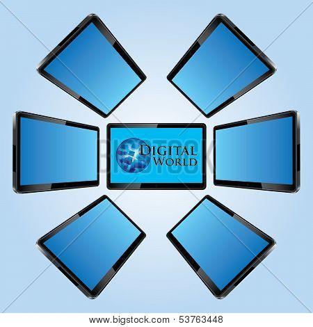Seven Modern Lcd Screens Vector Illustration