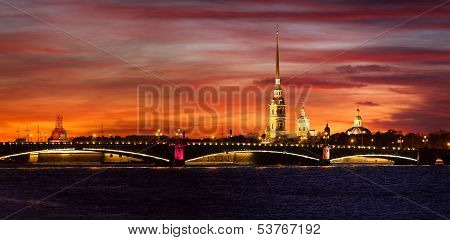 Panoramic Image Of Strong Beauty Sunset On Neva River In Saint-petersburg, Russia