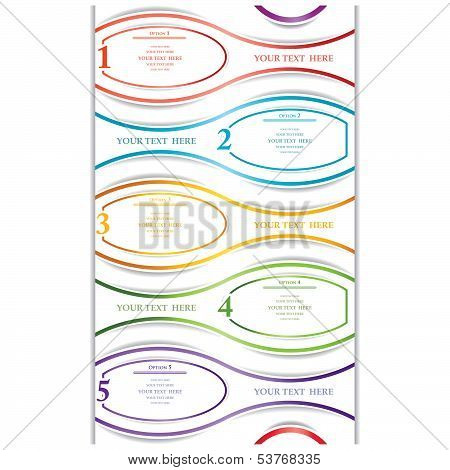 Paper Numeric Options Web Design Isolated. Vector Illustration