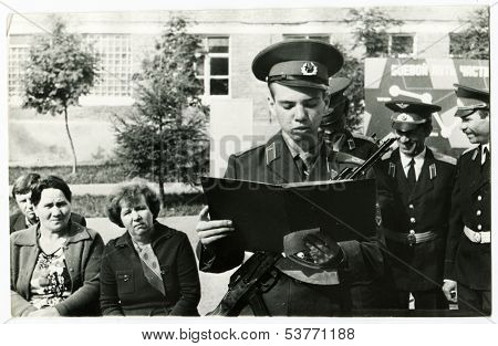 STERLITAMAK, USSR - 1987: Red Army soldiers at the military oath ceremony, Sterlitamak, Bashkortostan, Russia, USSR, 1987