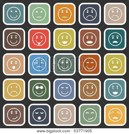 Circle Face Flat Icons On Balck Background