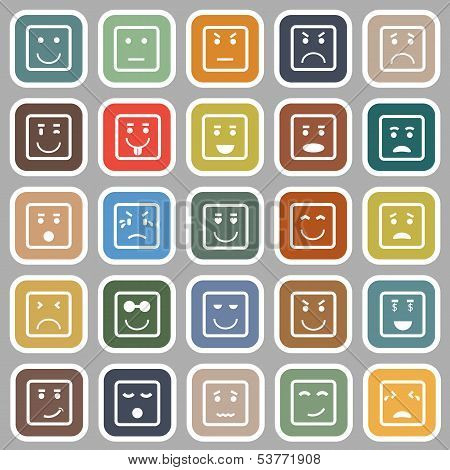 Square Face Flat Icons On Gray Background