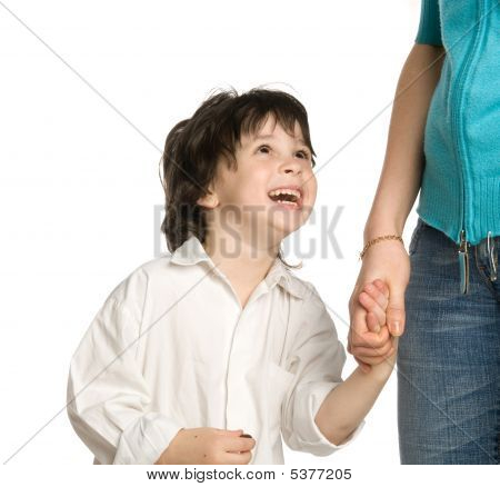 The Liitle Boy Wish Holding Of Mother`s Hand