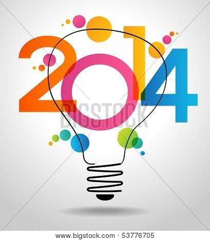Vector 2014 Happy New Year background with bulb,.  The file is saved in the version AI10 EPS. This image contains transparency.