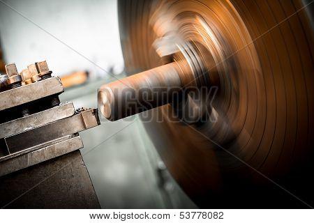 Lathe Machine In Metal Workshop