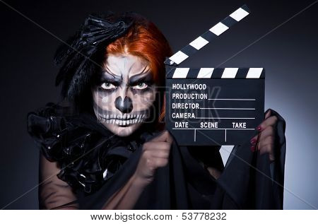 Scary monster with movie board