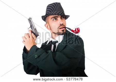 Young detective isolated on the white