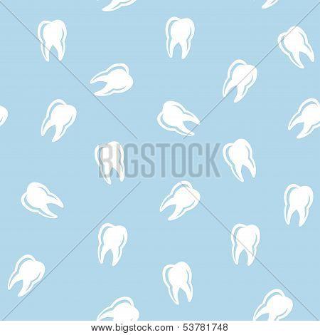 Vector Dental Pattern: White Teeth On Blue Background