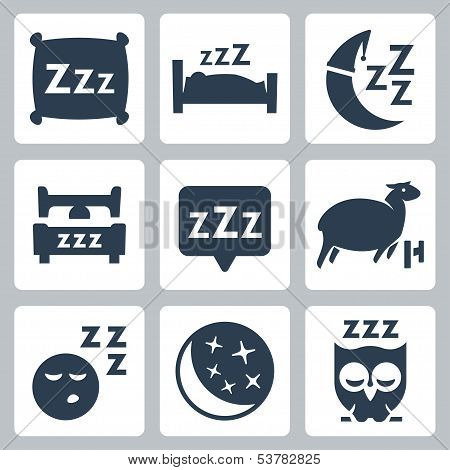 Vector Isolated Sleep Concept Icons Set: Pillow, Bed, Moon, Sheep, Owl, Zzz