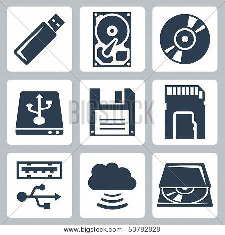 Vector Data Storage Icons Set