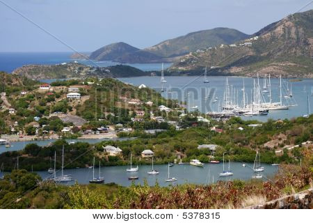 Yachts On Falmouth Bay, English Harbour, Antigua