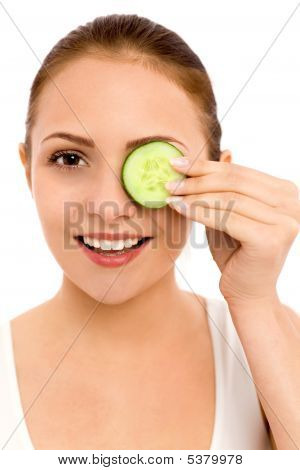 Woman With Cucumber Over Her Eye
