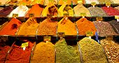 stock photo of middle eastern culture  - Colorful spices at spice bazaar in Istanbul Turkey - JPG