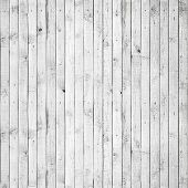 stock photo of wooden fence  - Seamless background texture of old white painted wooden lining boards wall - JPG