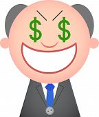 picture of sneaky  - Vector cartoon funny boss greedy and sneaky with money eyes - JPG