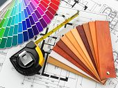 stock photo of blueprints  - interior design - JPG
