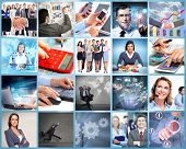 stock photo of calculator  - Business team collage - JPG