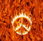 Sign of peace engulfed in flames, on infernal background