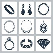 stock photo of adornment  - Vector isolated jewelry icons set over white - JPG
