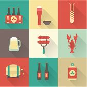 stock photo of sausage  - Beer icons set vector - JPG