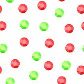 Red and green sequins on white seamless pattern, vector