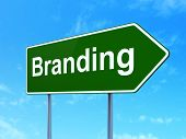 Advertising concept: Branding on road sign background poster