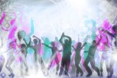 stock photo of groupies  - many people are dancing in a disco - JPG