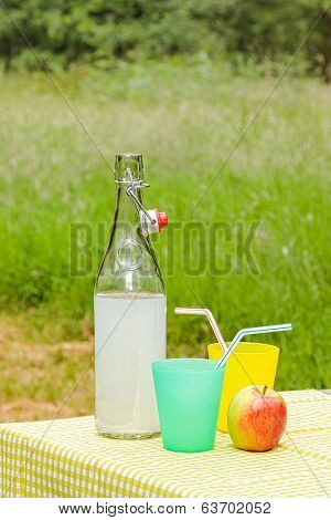 A bottle of fresh homemade lemonade outdoors on a picnic table