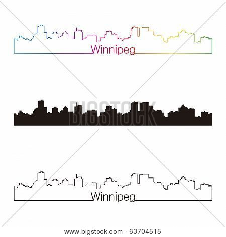 Winnipeg Skyline Linear Style With Rainbow