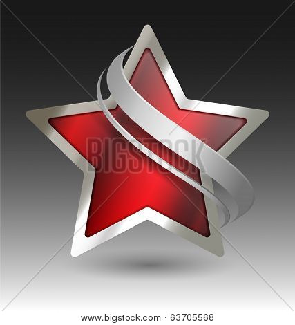 Elegant Metallic Star Embleme With Embellishment
