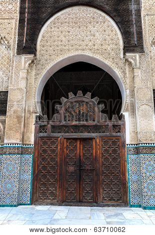 Gate at the courtyard of bou inania madrasa