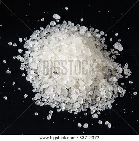 Coarse salt. Macro.