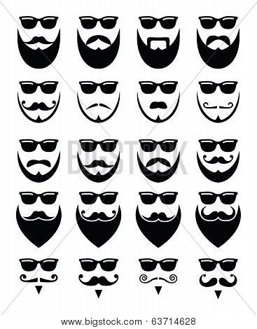 Beard and shades, hipster icons set