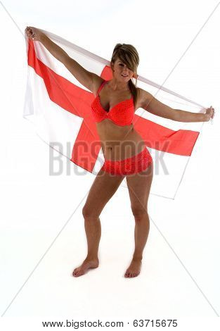 Bikini Girl With England Flag