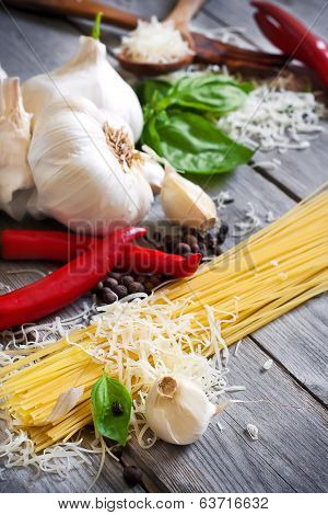 Pasta, Garlic, Pepper, Basil And Parmigiano