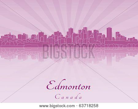 Edmonton Skyline In Purple Radiant Orchid