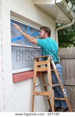 Taping Window Glass