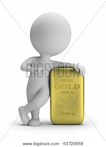 3D Small People - Gold Ingot