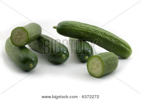Baby Cucumbers Isolated On White Background