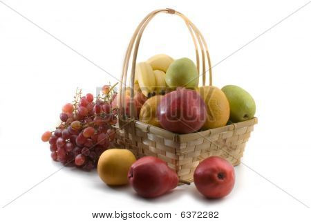 Basket Of Fruits Isolated On White Bacground