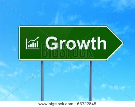 Business concept: Growth and Growth Graph on road sign background