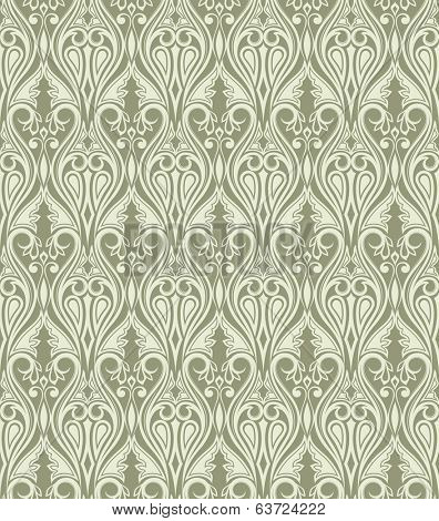 Seamless vintage abstract flower vector wallpaper.
