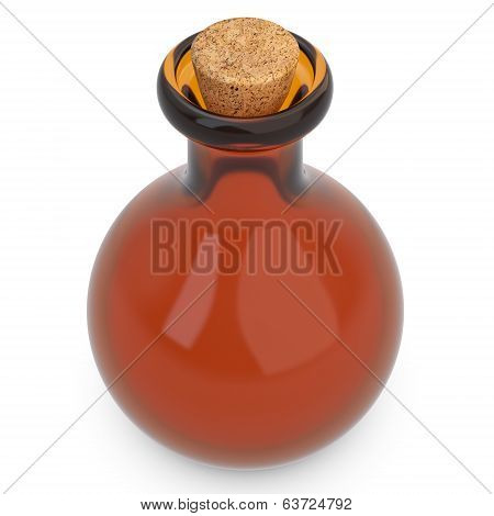 3D Empty Amber Potion Flask