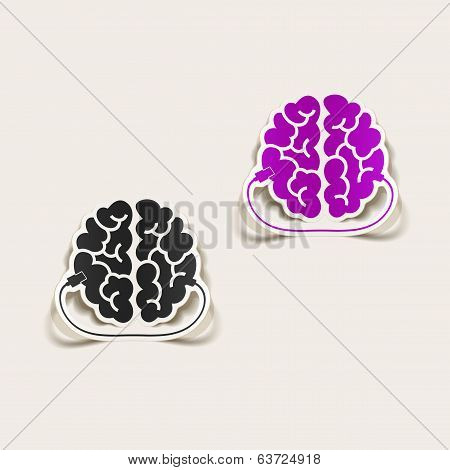realistic design element: brain-usb, plug